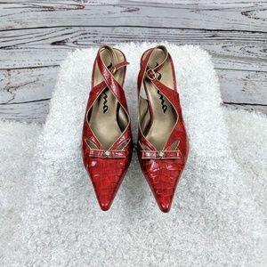 Nina red snake print bow heels